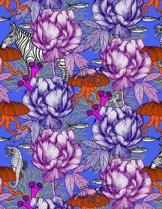 """Papier peint """"Envie d'ailleurs"""" - Michaël Cailloux  #papierpeint #pattern #artdeco #art #michaelcailloux #decoration #interior #illustration #zèbre  #fleurs #méduse"""