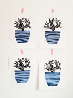 Amy Blackwell - Small Cactus Lino Print via Audrey and Illya. Click on the image to see more!