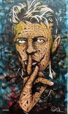 """Bowie"" ~ Otto Schade, aka OSCH  is a bi-cultural street artist,  Chilean and German. He's also an architect and urban sculptor. He's been living in London since 2006."