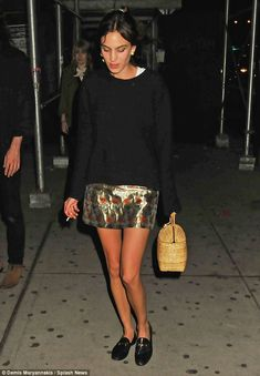 Transatlantic trendsetter: Alexa Chung, 32, was spotted walking on New York City's famous Bowery Street in a low-key glamorous look which flaunted her legs on Saturday night