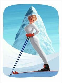 Lorenzo artworks, pin-up art: Skiing vintage pinup, Ski Vintage, Vintage Italian Posters, Vintage Ski Posters, Vintage Postcards, Cool Posters, Sports Posters, Retro, Pin Up, Travel Ads