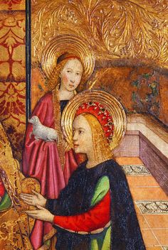 Jaume Huguet. Detail from Virgin and Saints, 1460.