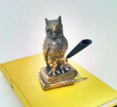 Vintage Brass Owl Pen Holder by CoolandBeautiful on Etsy, $12.00
