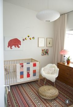 simple bohemian nursery - except a more plush/comfy chaor