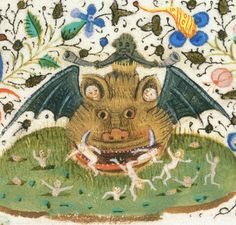 The British Library, Harley 3999, detail of f. 21 (Hell). Jean de Meung, Le trésor. Northern France, c.1430-c.1450.