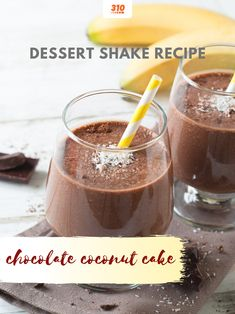 Increase your protein intake in the form of a dessert shake with 20g of protein per serving! Check out the full recipe for this Chocolate Coconut Cake Shake here! Protein Shake Recipes, Protein Shakes, Coconut Shake Recipe, Shake Shake, Healthy Fats, Chocolate Recipes, Panna Cotta, Pudding, Drinks