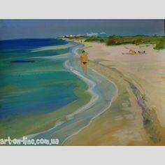 Картина Утро у моря -  Утренний малолюдный пляж с желтым песком и голубой водой. Отдыхающие на пляже курортники ранним утром на картине гуашью.