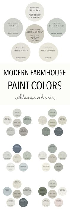 Modern Farmhouse Paint Colors Check out these color palettes for inspiration for your own home and check out my tips for how to chose the right paint color every time! Dining Room Paint Colors, Room Wall Colors, Farmhouse Paint Colors, Bedroom Paint Colors, Guest Room Paint, Family Room Colors, Family Rooms, Best Paint Colors, Paint Colors For Home