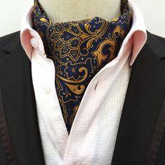 Remo Sartori Made in Italy Mens Beige Burgundy Paisley Self Cravat Ascot Day Tie Silk