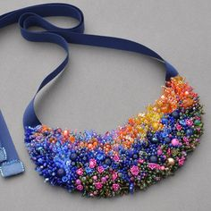 Amazing colorful beadworked necklace