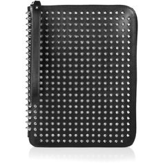 Christian Louboutin Spiked leather iPad case (7,010 MXN) ❤ liked on Polyvore featuring accessories, tech accessories, black, leather ipad case, ipad cover case, ipad cases, apple ipad cover case and genuine leather ipad case