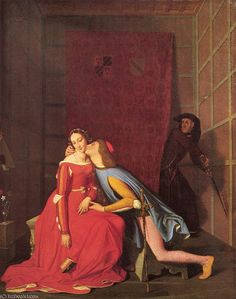 Paolo et Francesca (1819) de Jean Auguste Dominique Ingres (1780-1867, France)