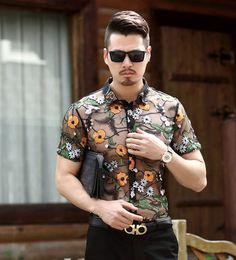 1a32202ba0 Camisa de encaje Floral de flores para hombre 2018 bordado de lujo para  hombre camisas de