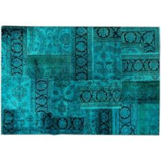 "Turquoise Patchwork Overdye Rug - 6'3"" x 9'2"" ($775) ❤ liked on Polyvore featuring home, rugs, turquoise rug, floral rugs, hand knotted area rugs, turquoise area rug and patchwork rugs"