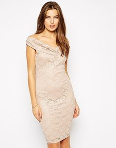 Jessica Wright Olivia Off Shoulder Dress in Glitter Lace