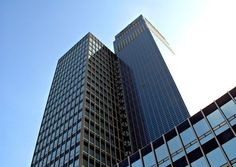 An office tower in England is completely covered in solar panels, used to offset the energy usage for the insurance company inside.