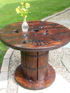 SOLD / Upcycled Repurposed Spool Table with Clock Face Top /SOLD by AddictionDecor on Etsy