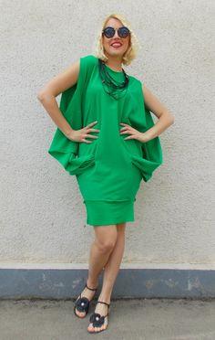 Green Summer Dress / Cotton Summer Dress / Fashionable Cotton Dress / Stylish Summer Dress TDK120