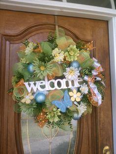 deco mesh summer wreath pinterest   ... to Spring/Summer Wreath, Welcome Wreath, Deco Mesh Wreath on Etsy