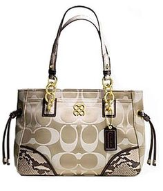 Coach Signature Colette Carryall Handbag Bag Purse Tote 16475 Khaki Python Trim $289.99