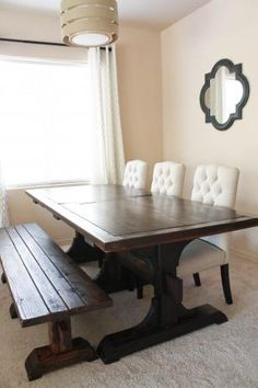 Triple Pedestal Farmhouse Table | Do It Yourself Home Projects from Ana White