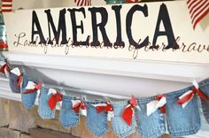 by pen n' paper flowers, via Flickr  Denim Banner for the 4th   Too cute!
