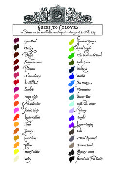 "Another fun Renaissance thing, 16th Century guide to colors (some of the names are a riot, like ""The Devil in the Head"" or ""Dead Spaniard"")- Cream City Illustrators"