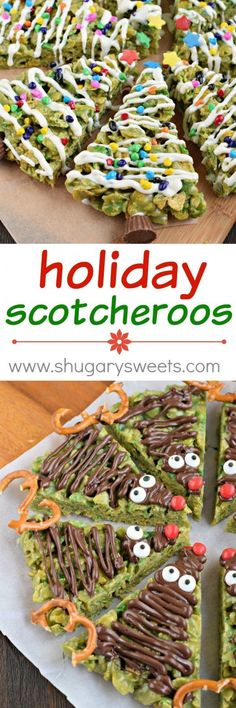 Only the best ingredients combine to make this recipe for HOLIDAY Scotcheroos! How adorable are these Christmas Trees and Reindeer? Plus a chewy, peanut butter treat is always a WIN!