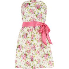 White/pink floral ribbon dress (21 CAD) ❤ liked on Polyvore featuring dresses, vestidos, haljine, pink, women, pink floral print dress, white floral print dress, white dress, floral printed dress and bandeau dress