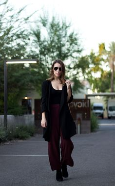 A Favorite Combination of Knee High Boots & Wide Leg Pants | Clothes & Quotes. Black bodysuit+burgundy culotte pants+black knee-high boots+black long jacket+black shoulder bag+ aviator sunglasses. Fall Everyday Outfit 2016
