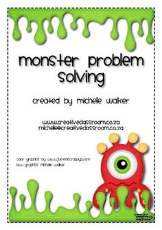 FREE! In this center children use colored monsters to assist with solving word problems. Helps w/ beginning algebraic thinking like 3 + _ = 5