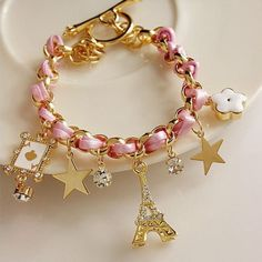 2013 New Fashion Luxury Exquisite Eiffel Tower Star Poker All-match Leather Bracelets Bangle for Women Ladies Free Shipping Pink $3.99