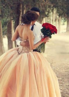 Lovee evening gown princess gown cute couple roses