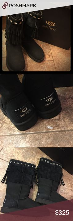 UGG & JIMMY CHOO Like New UGG and JIMMY CHOO Boot! Style is Sora. Black , star studded with fringe. Comes in original box. You will LOVE these! UGG & CHOO Shoes Winter & Rain Boots