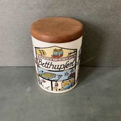 """Ceramic Candy Jar, """"Betthupferl"""" By Staffel Domkeramik / Limburg / West Germany, Wooden Lid Sixties Style, Sixties Fashion, Green Turquoise, Purple, Blue, Candy Jars, Lettering, Cream White, Candy Colors"""
