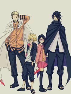 Naruto, Bolt, Sarada and Sasuke