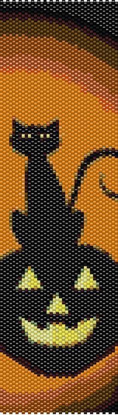 Halloween Cat on Jack O Lantern Peytot Cuff by CKFJewelryDesigns