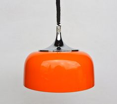 Vintage Space Age Ceiling Lamp / Adjustable Pendant Lamp / 70's Retro Home Decor / Meblo Guzzini / Orange