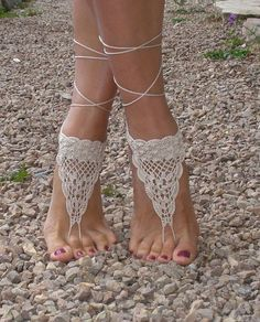 Boho Beach Wedding Crochet Barefoot Sandals - Set of Two - Set of Two