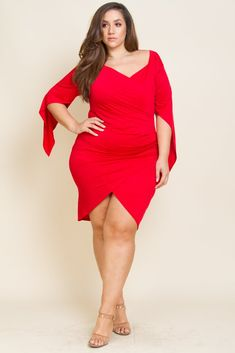 Surplice bodycon dress Overlay high-low mini length Choker for front or back detail Polyester, Spandex Made in USA Model is wearing a Big Girl Fashion, Curvy Women Fashion, Plus Size Fashion, Hourglass Dress, Hourglass Figure, Erica Lauren, Full Figured Women, White Girls, Bodycon Dress