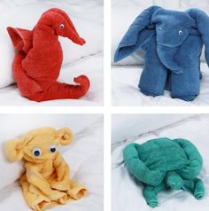 You will love this Towel Animals Step By Step Video and you will learn how to make 4 super cute versions. Pick from Elephant, Turtle, Seahorse and Monkey.