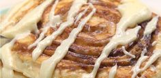This genius breakfast recipe combines the quickness and ease of pancakes with the scrumptious sugar n' spice of cinnamon rolls to make all of your brunch dreams come true. Cinnamon Roll Pancakes No one Breakfast Pancakes, Breakfast Dishes, Breakfast Recipes, Breakfast Ideas, Vegetarian Breakfast, Brunch Ideas, Breakfast Time, Brunch Recipes, Cinnamon Roll Pancakes