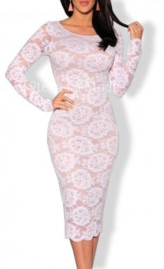 $39.99 Floral Lace Nude Illusion Long Sleeves Midi Dress