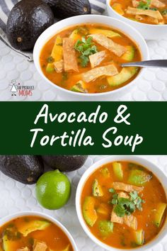 Avocado and Tortilla Soup   Check out this easy soup recipe. Perfect for a cool winter night mix up this tasty and nutritious dinner meal.  - The Produce Moms