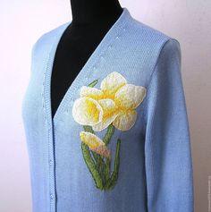 Купить Кофта с вышивкой. Нарцисс - женская одежда, Машинное вязание, машинное вязание на заказ, кофточка