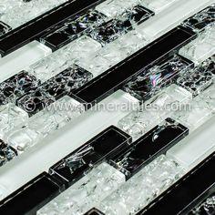 Mineral Tiles - Crackled Glass Tile Linear Night Blend, $18.95 (http://www.mineraltiles.com/crackled-glass-tile-linear-night-blend/)