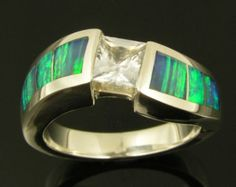 Australian Opal Sterling Silver Inlay Ring by RanSanDesigns