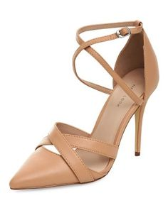 Stone Cross Ankle Strap Pointed Heels  | New Look