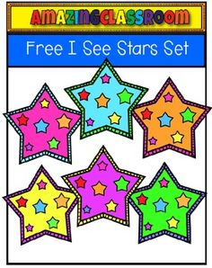 "Hopefully this fun, ""I See Stars"" set with spruce up your teaching lessons and resources on TpT!  These will be sure to add tons of color to your creations!This set includes 8 images, 6 in color, and two in digital stamp format.  One is just a black outline and the other is a black outline with white inside."