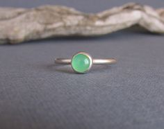 Green Chrysoprase Sterling Silver Ring - Bright Green Stone - Stacking Ring - Skinny Ring with Gemstone -